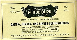 Klicken Sie auf die Grafik für eine größere Ansicht  Name:Modenhaus Rudolph - Werbeanzeiger 1955.jpg Hits:3 Größe:95,0 KB ID:13770
