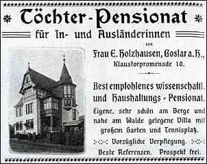Klicken Sie auf die Grafik für eine größere Ansicht  Name:töchterheim holzhausen goslar, werbung ca. 1900.jpg Hits:103 Größe:447,4 KB ID:13677