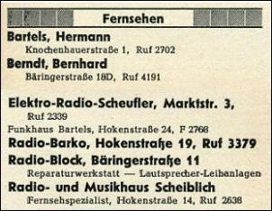 Klicken Sie auf die Grafik für eine größere Ansicht  Name:Musik und Fernsehen - Telefonbuchauszug 1955.jpg Hits:9 Größe:31,8 KB ID:2073