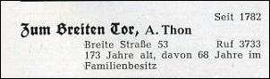 Klicken Sie auf die Grafik für eine größere Ansicht  Name:Hotel Zum Breiten Tor_TB 1955.jpg Hits:85 Größe:10,6 KB ID:7730